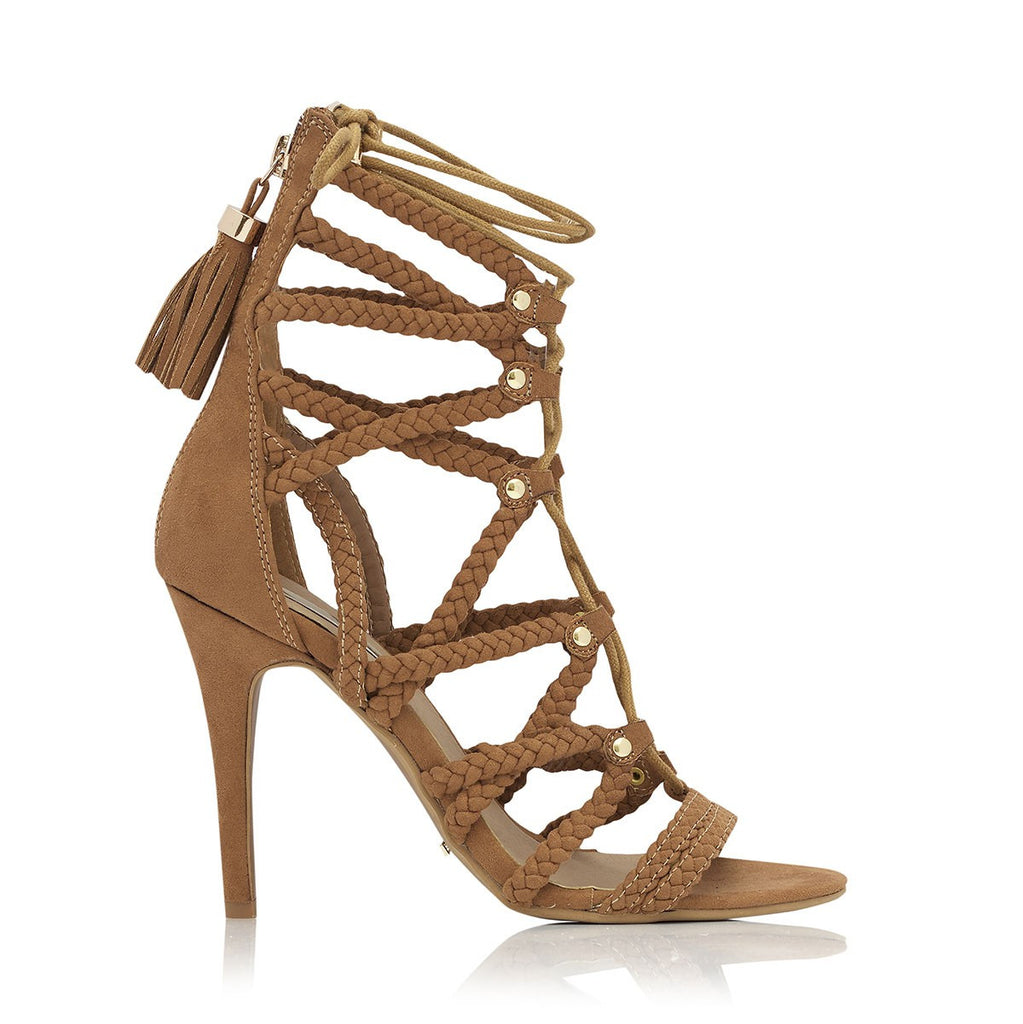 Cancun Tan Suede Heels by Billini