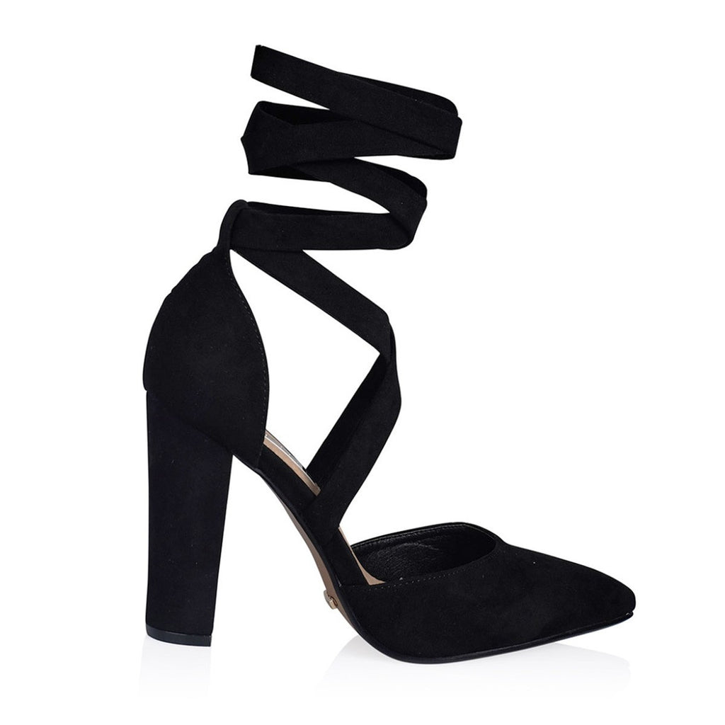 Ellery Black Suede Heels by Billini