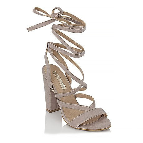 Preen Nude Suede Lace Up Heels by Billini