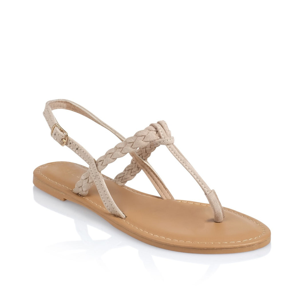 Olena Nude Suede Sandals by Billini