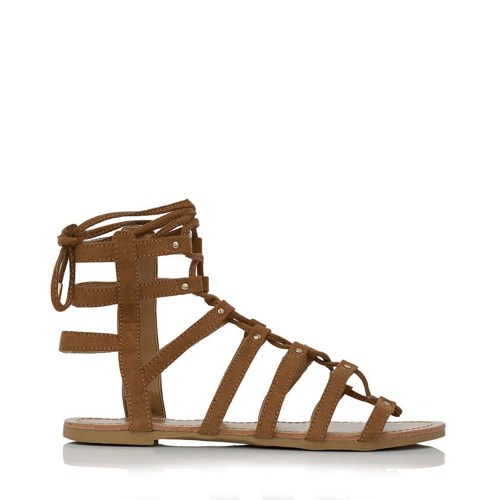 Solei Tan Suede Gladiator Sandals by Billini