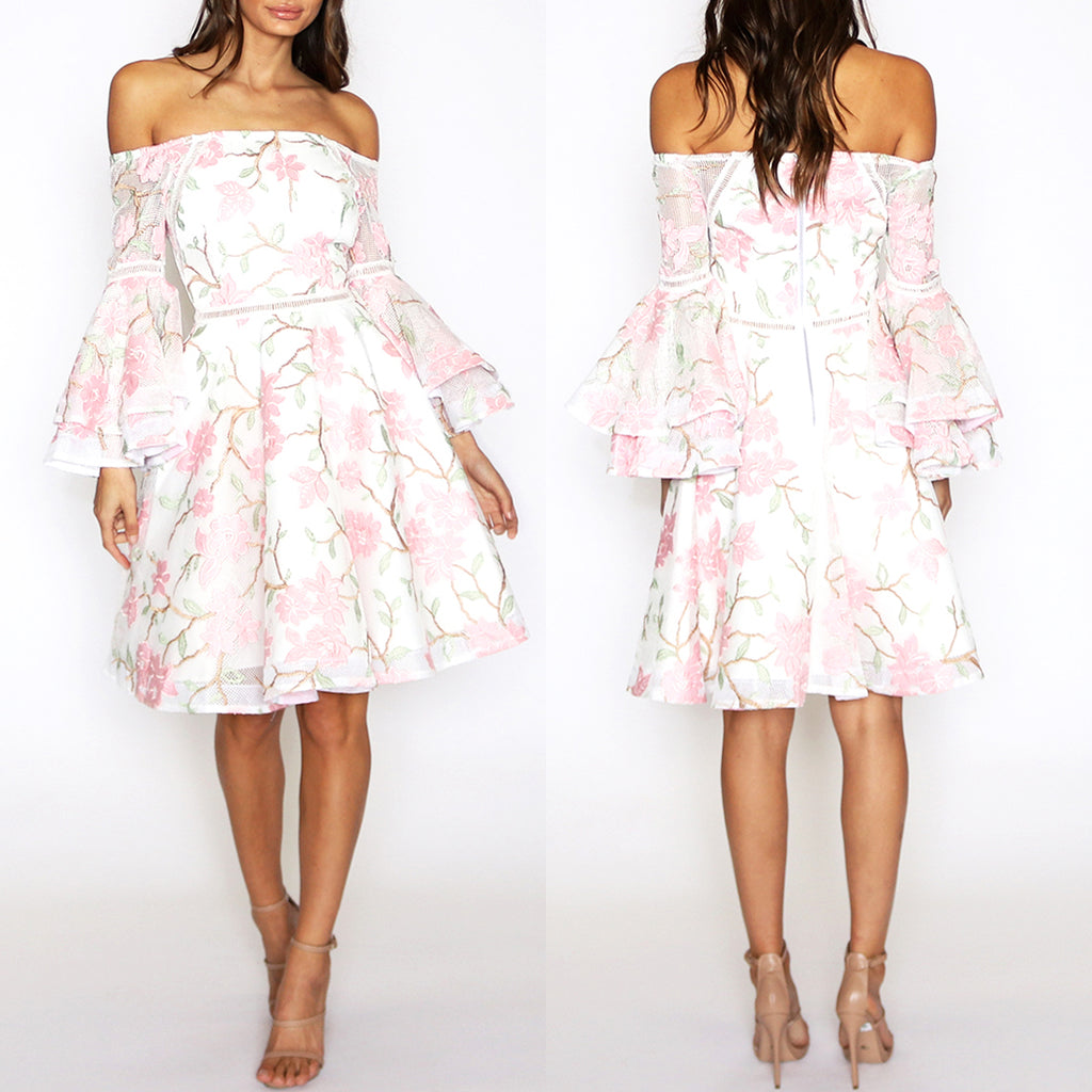Addison Flared Sleeve Dress - White Floral