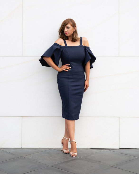 Zoe Midi Dress - Midnight Blue
