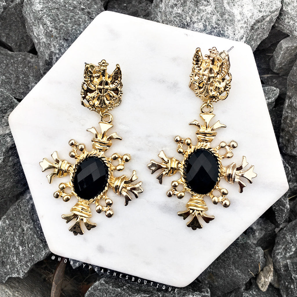 Ava Earrings - Gold/Black