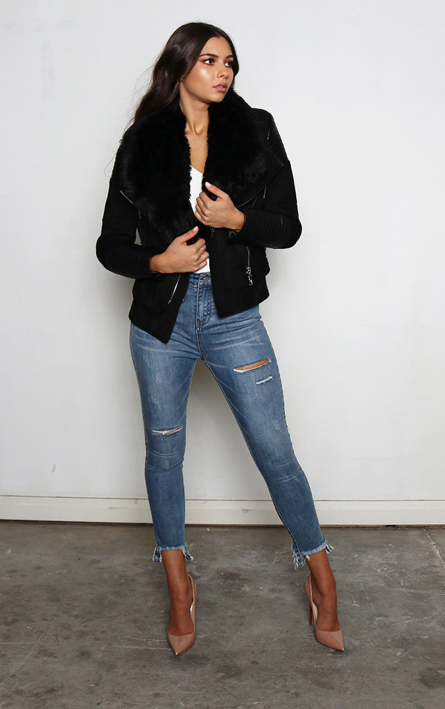 Bessy Fur Biker Jacket - Black