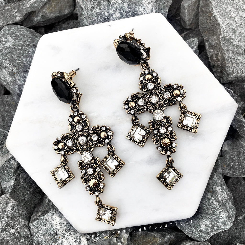 Bianca Earrings - Black/Gold