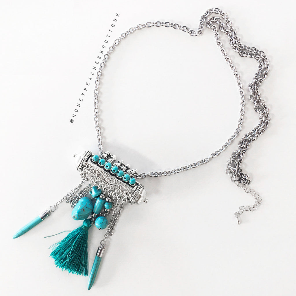 Alessandra Necklace - Silver/Teal