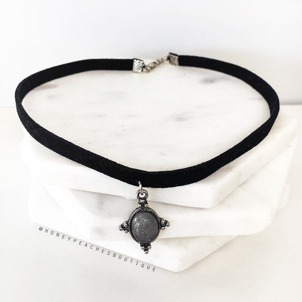 Skyla Set of Two Chokers - Black