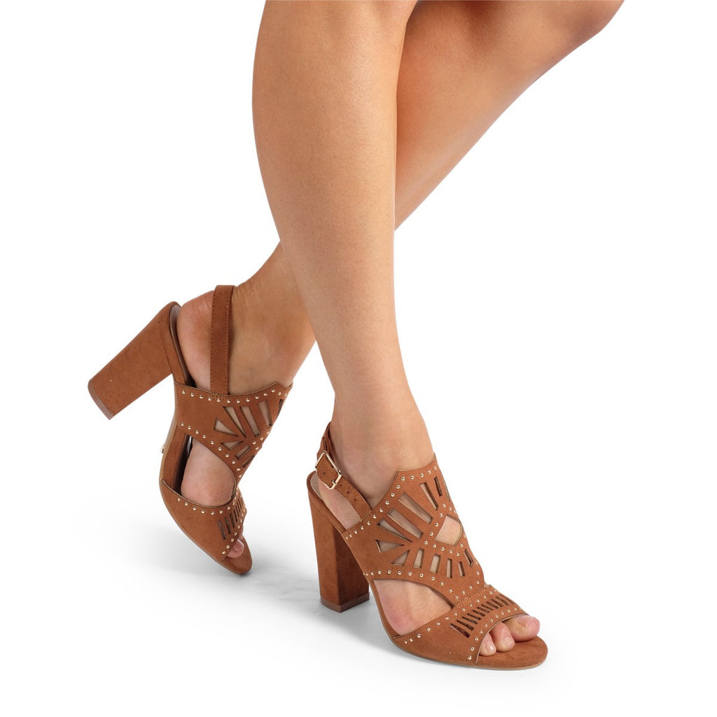 Polina Dark Tan Suede Heels by Billini