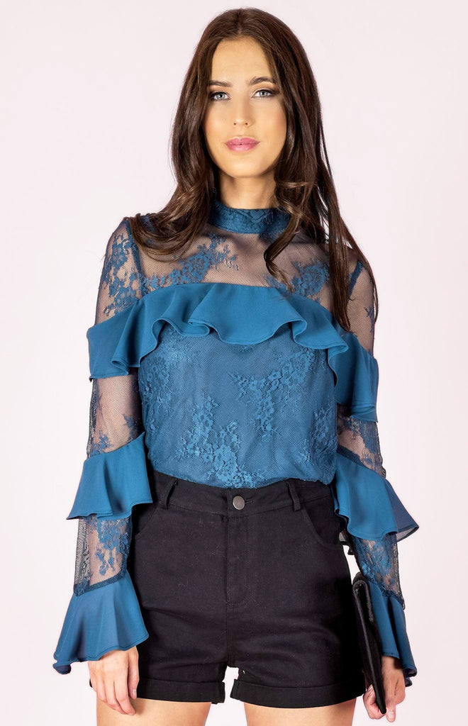 Falling Skies Lace Top - Blue