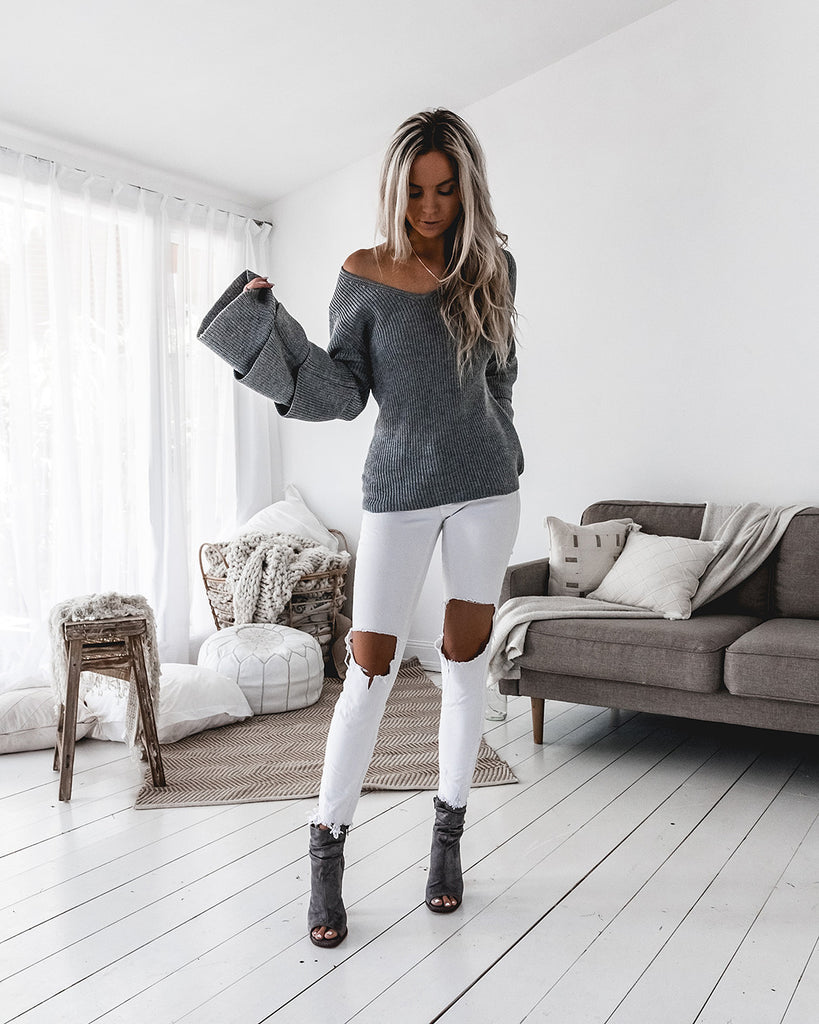 Pre-Order: Jordan V Knit Sweater - Grey