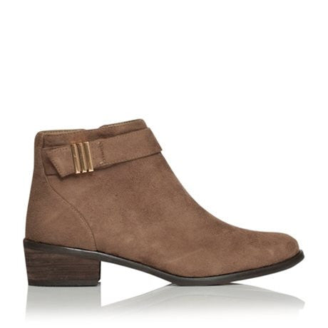 Kenzie 2 Dark Taupe Suede Ankle Boot by Billini