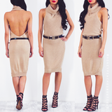 Mind Games Knit Dress - Beige