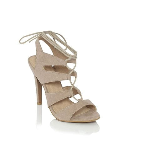 Oden Nude Suede Laced Up Heels by Billini