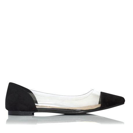 Santa Black Suede Flats by Billini