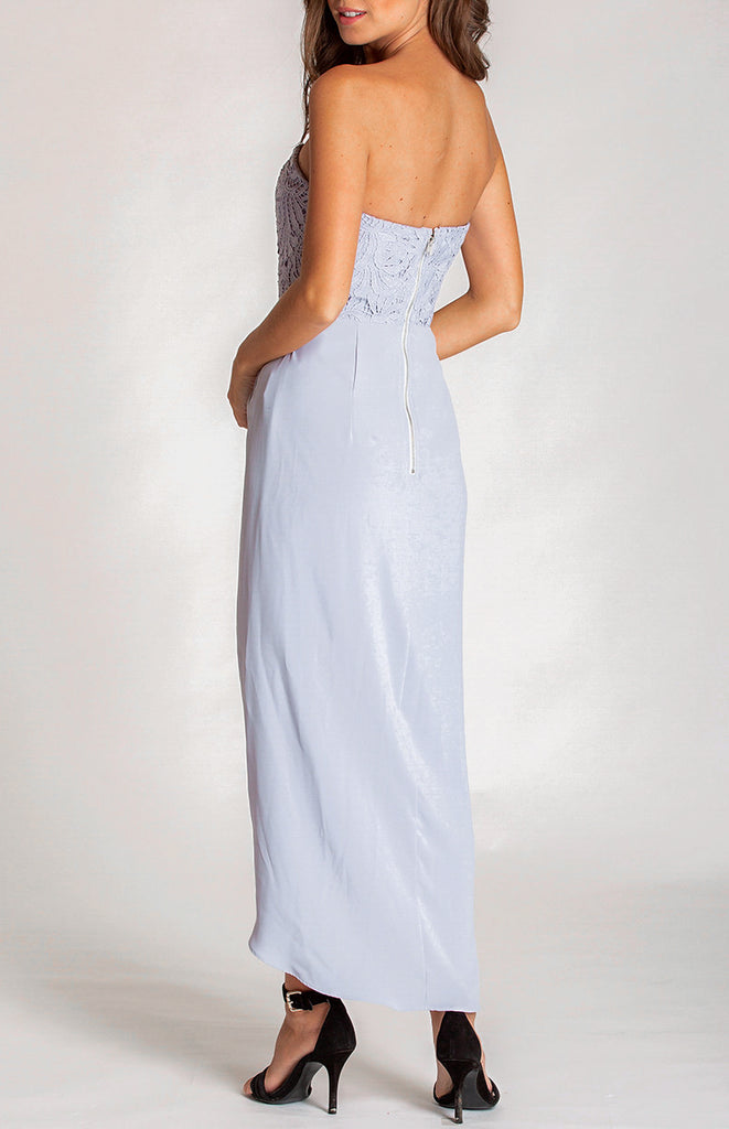 Willow Lace Bodice Dress - Grey Blue
