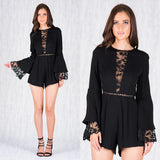 Make My Love Go Playsuit - Black