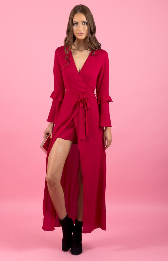 Feels Like Forever Maxi Playsuit - Crimson