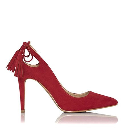 Thilda Red Suede Heels by Billini