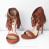 Travis Tan Suede Fringe Heels by Billini