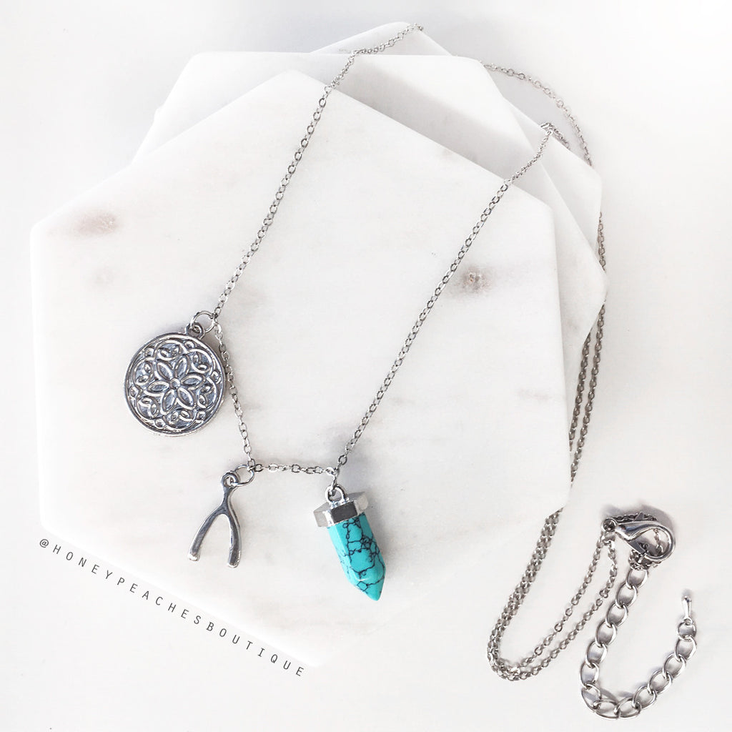 Letitia Necklace - Silver/Teal