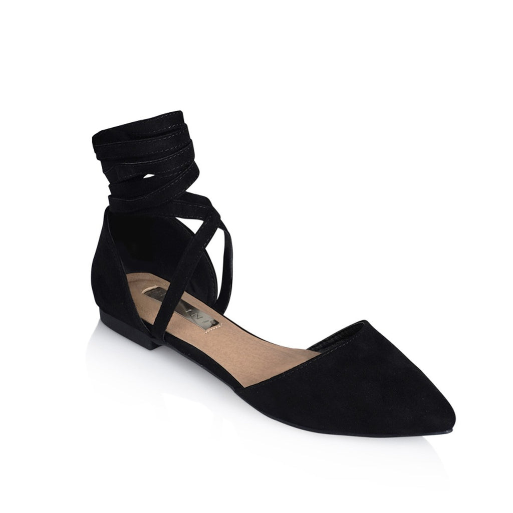 Zenya Black Suede Flats by Billini