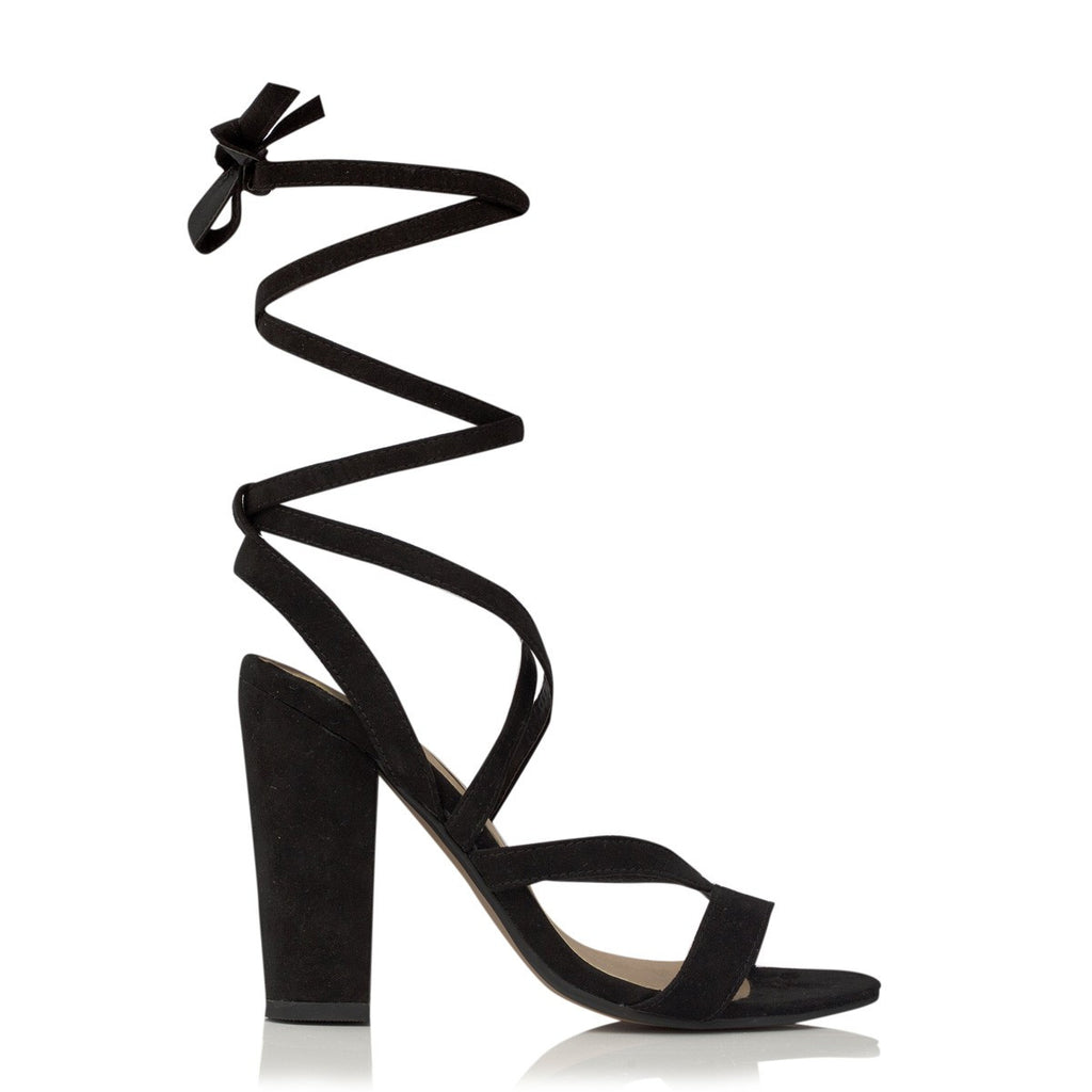 Preen Black Suede Lace Up Heels by Billini