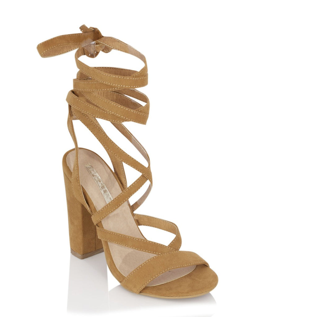 Preen Tan Suede Lace Up Heels by Billini