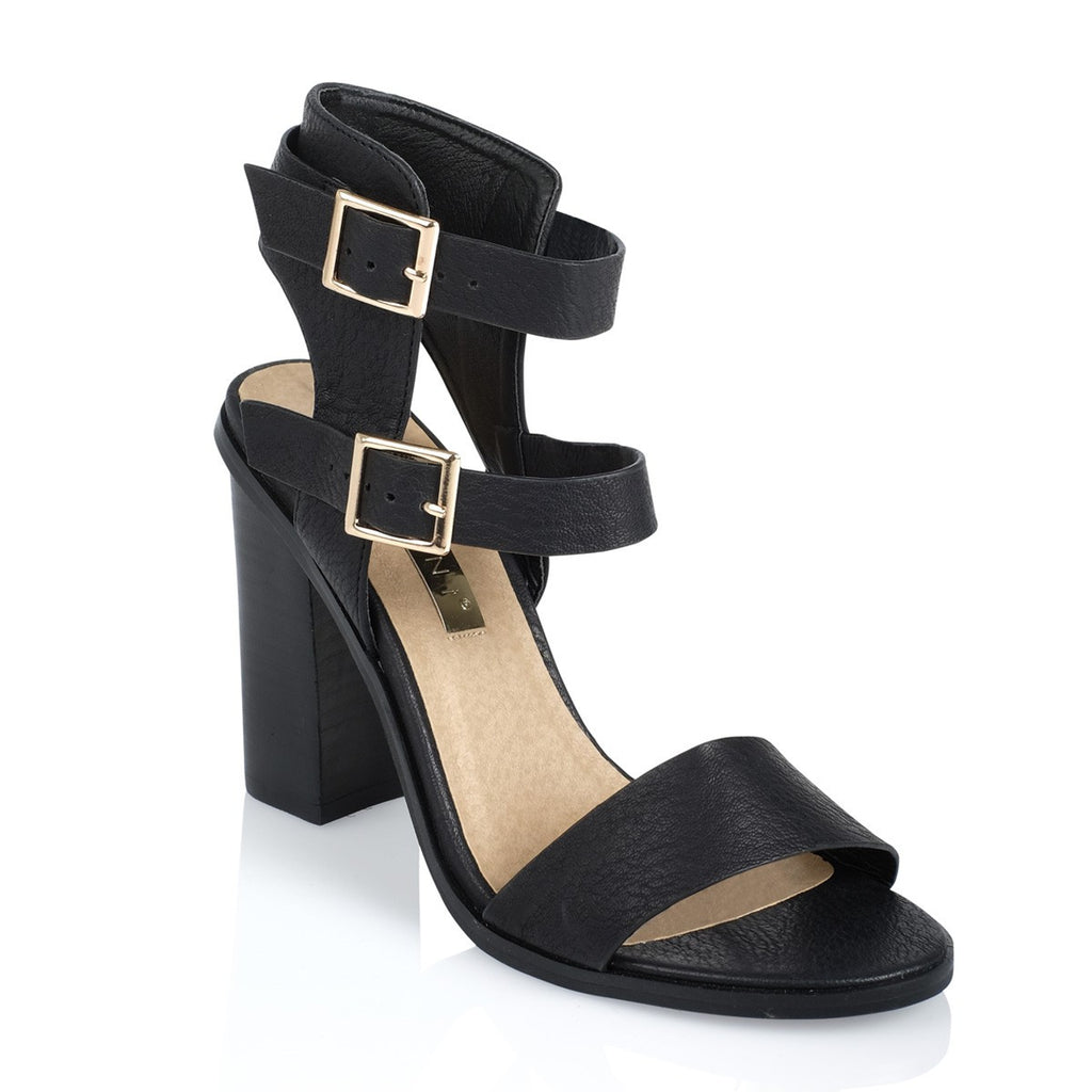 Zana Black Pebble Heels by Billini