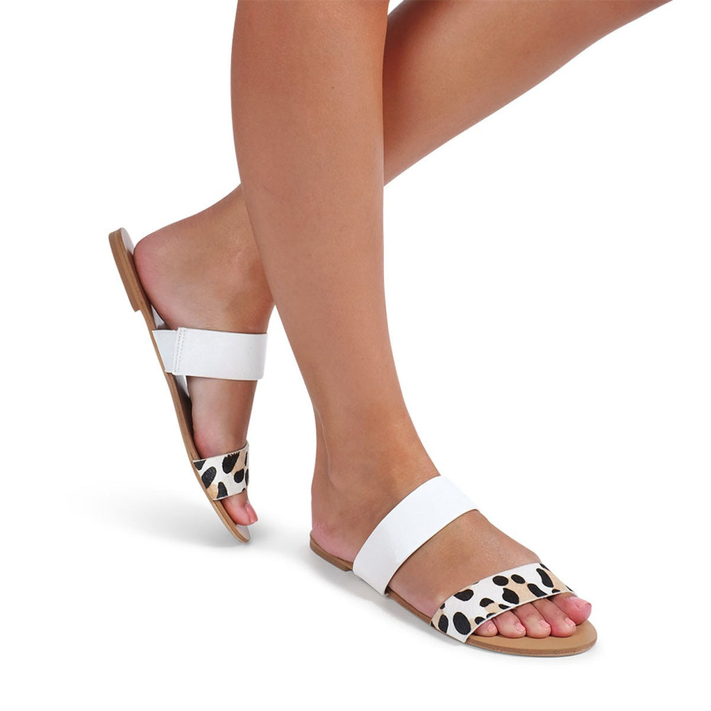 Mantel White/Blonde Leopard Sandal by Billini