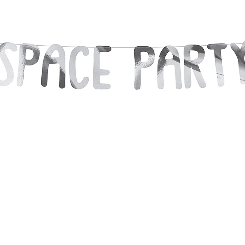 space party girlande silber