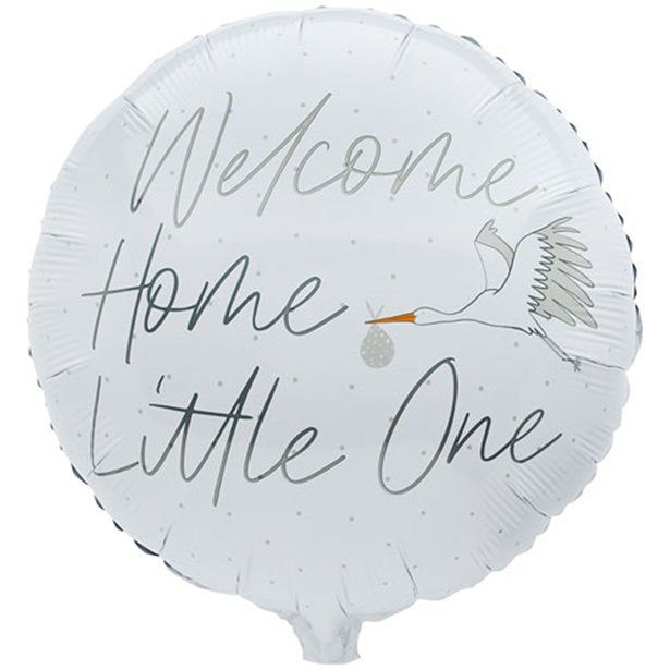 welcome home baby ballon weiss storch