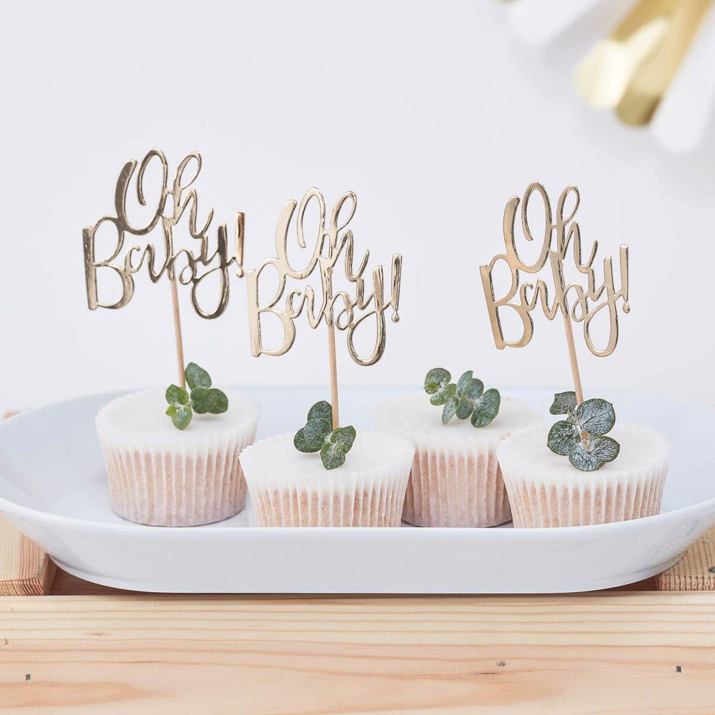 Oh Baby Cupcake Topper gold