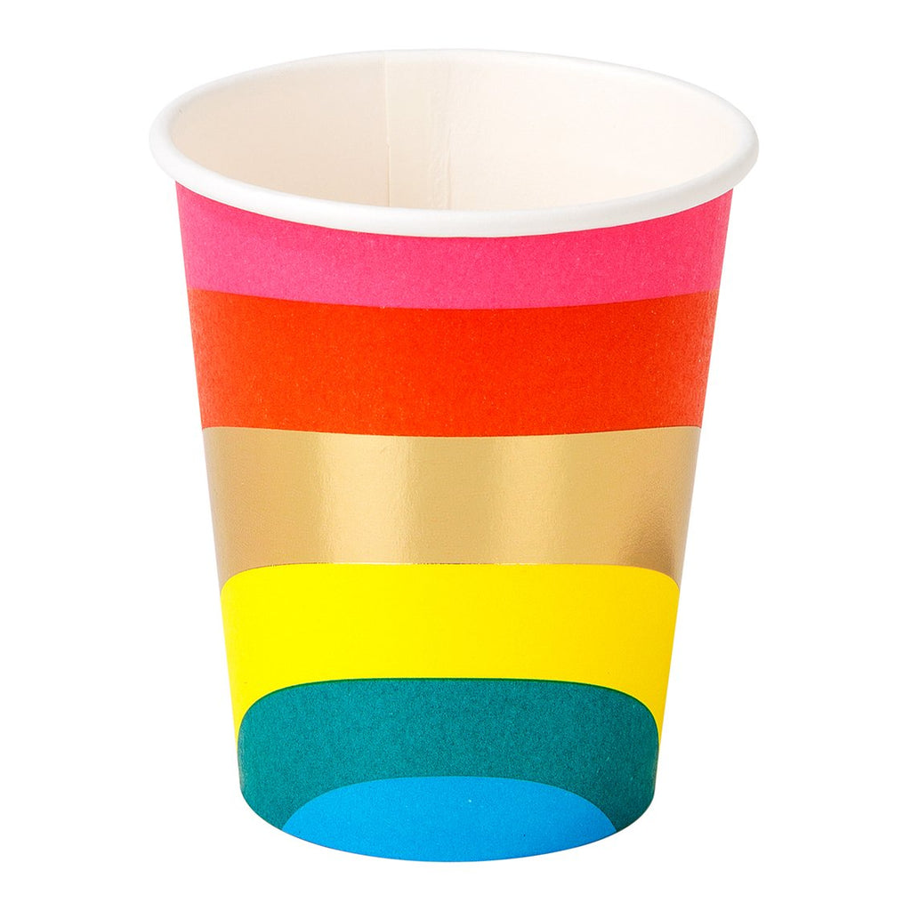 Regenbogen Party Becher bunt gold