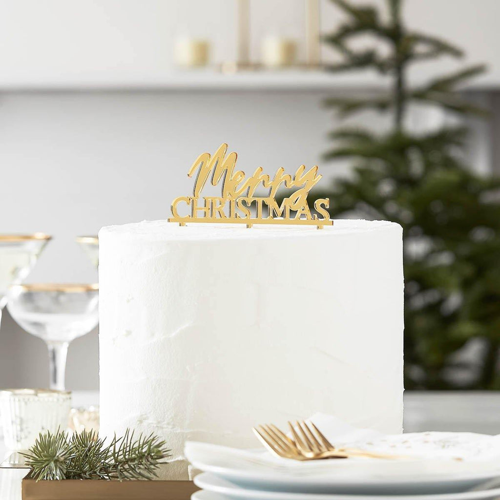 ginger ray merry christmas cake topper gold