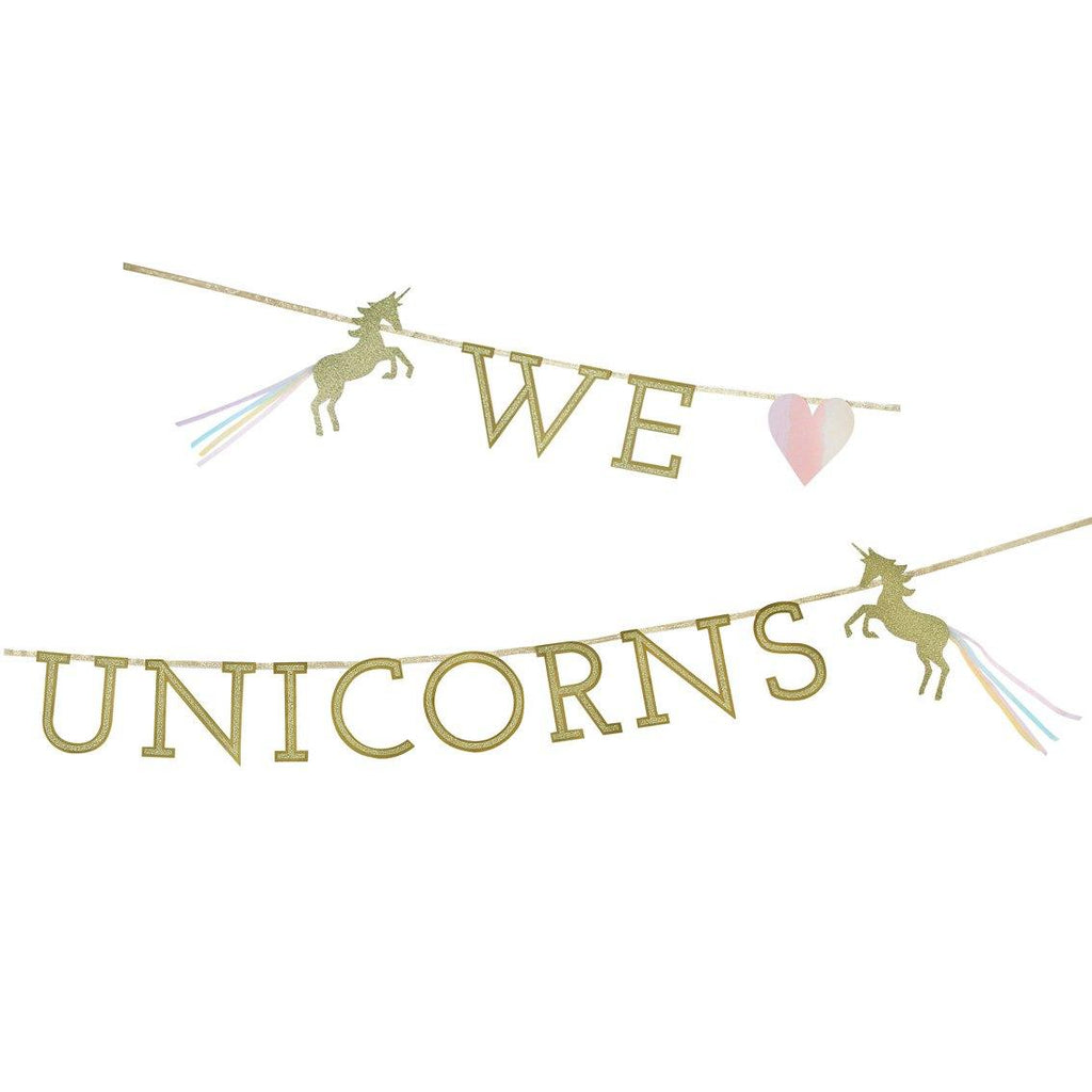 We love Unicorns Einhorn Girlande Gold