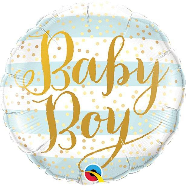 Qualatex Baby Boy Folienballon blau gestreift