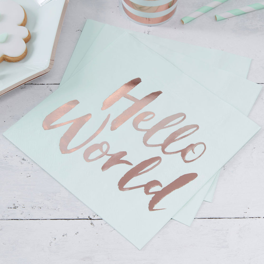 Hello World Servietten mint Babyparty