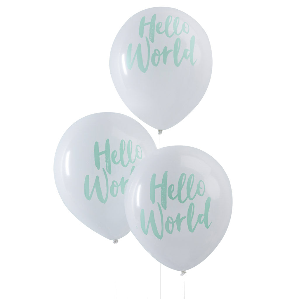 Hello World Latexballons weiß mint
