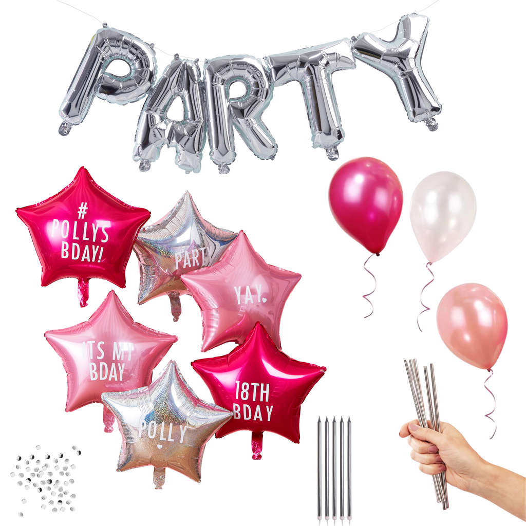 party set silber pink