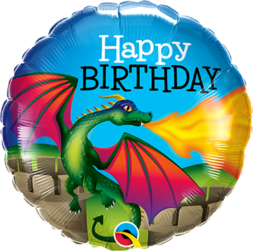 Happy Birthday Ballon Drache rund Qualatex