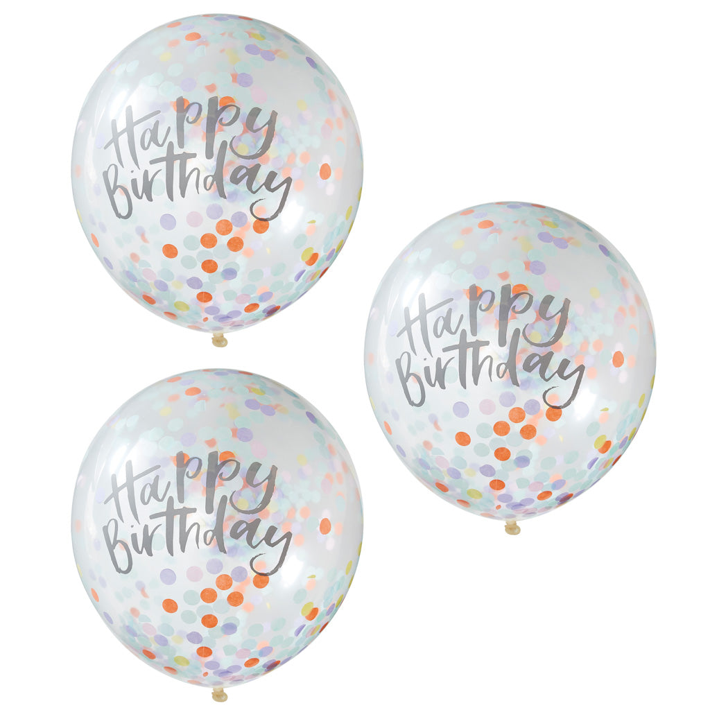 Happy Birthday Konfetti Ballons bunt