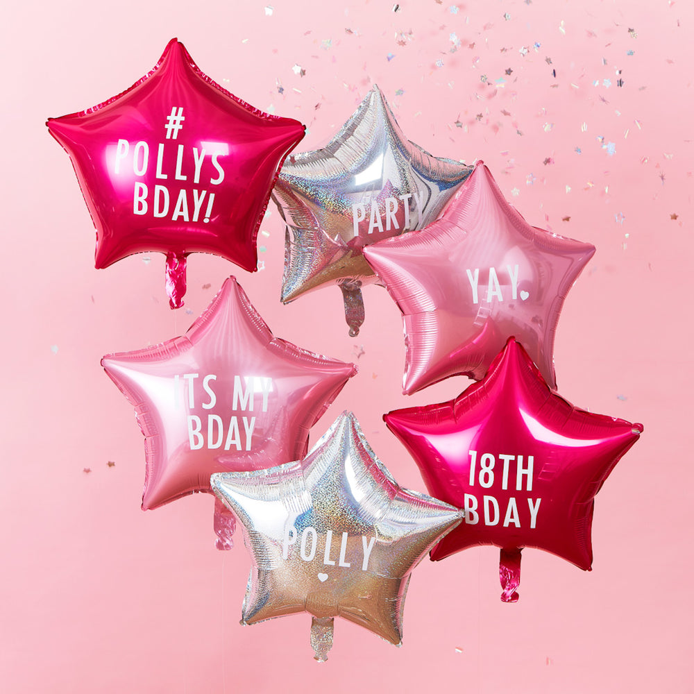 personalisierbare stern folien ballons rosa pink silber