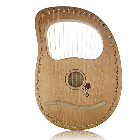 "Flying Melody""OW""16-String Wooden Lyre Harp,Mahogany Wood String Instrument with Carry Bag,Tuning Wrench,Cleaning Cloth and backup 16 Strings"