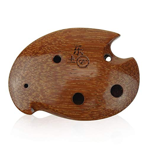 6 hole wooden ocarina elm or locust wood SSF,Exquisite Design,Mini Wooden Ocarina Necklace Music Instrument Gift Idea
