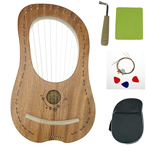 """OW"" Lyre Harp 10 Metal String Wooden Saddle Mahogany Lye Harp with Tuning Wrench and Lyre Harp Bag"