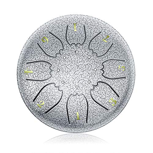 """OcarinaWind"" 6.3 Inch C Major Steel Tongue Drum Silver 8 Notes with Elegant Quality Drum Bag and Couple of Mallets,Easy to Learn,Wonderful Gift Idea,Titanium Steel Alloy"