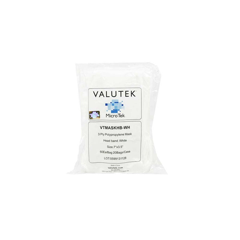 Polypropylene Face Mask 3-Ply Head Band | White 60 gsm 50 ea/Bag  20 Bags/Case