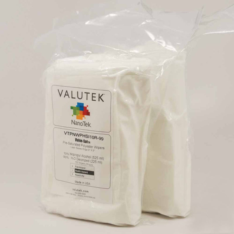 "Valutek -  70%, 50% or 100% IPA, Polyester, Pressure Heat Ultrasonic seal, 9"" x 9"""