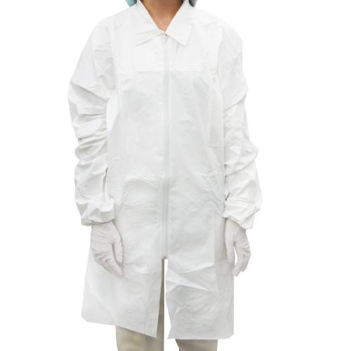 Microporous Labcoat Zippered Closure White | 55 gsm 5 ea/Bag 6 Bags/case